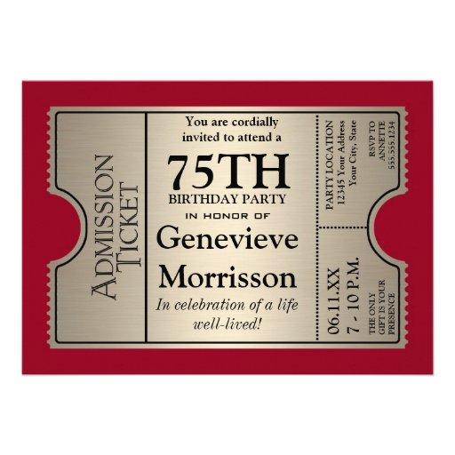 La 75.a fiesta de cumpleaños del estilo de plata d invitacion personal