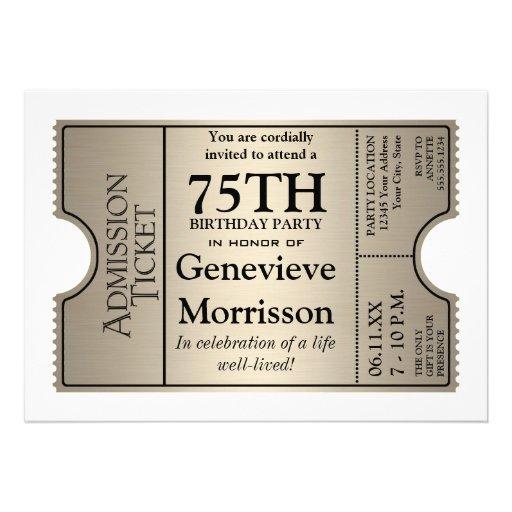 La 75.a fiesta de cumpleaños del estilo de plata d anuncios personalizados