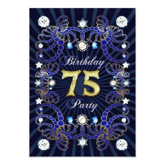 """la 75.a fiesta de cumpleaños invita con las masas invitación 5"""" x 7"""""""