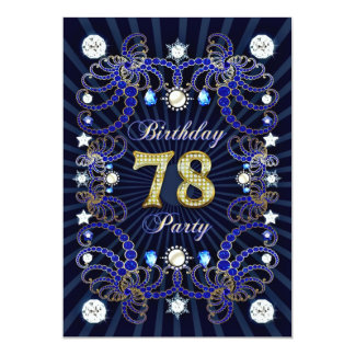 """la 78.a fiesta de cumpleaños invita con las masas invitación 5"""" x 7"""""""