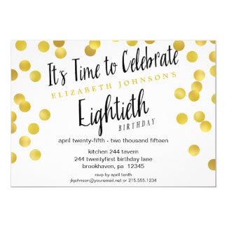 La 80.a fiesta de cumpleaños del confeti elegante invitaciones personales