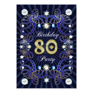 """la 80.a fiesta de cumpleaños invita con las masas invitación 5"""" x 7"""""""