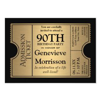 La 90.a fiesta de cumpleaños del estilo de oro del invitación 12,7 x 17,8 cm