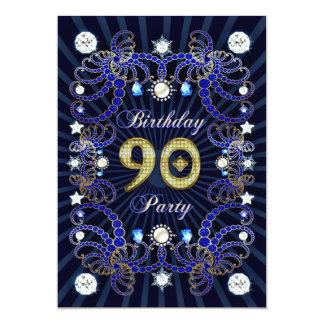 """la 90.a fiesta de cumpleaños invita con las masas invitación 5"""" x 7"""""""