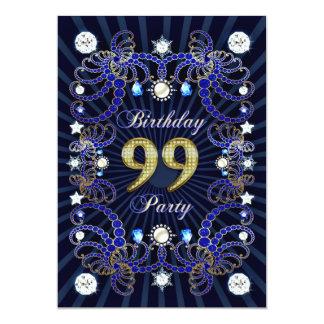 """la 99.a fiesta de cumpleaños invita con las masas invitación 5"""" x 7"""""""