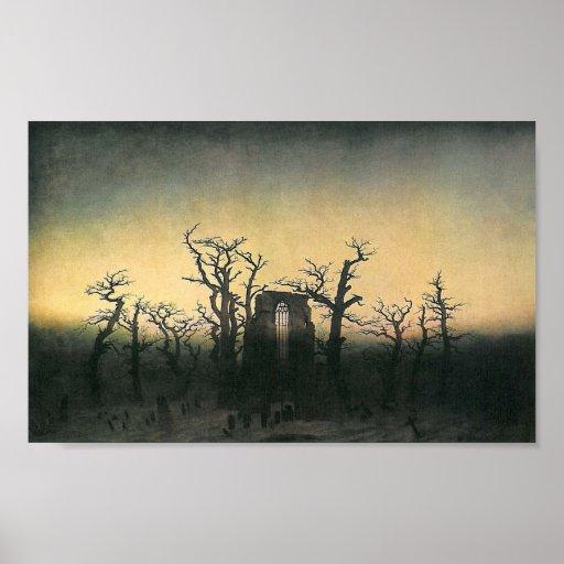 La abadía en la madera de roble póster