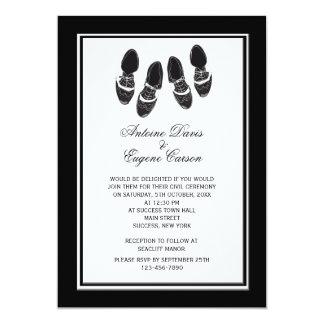 La abarca para hombre calza la invitación del boda invitación 12,7 x 17,8 cm
