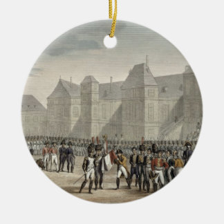 La abdicación de Napoleon y de su salida de Adorno Navideño Redondo De Cerámica
