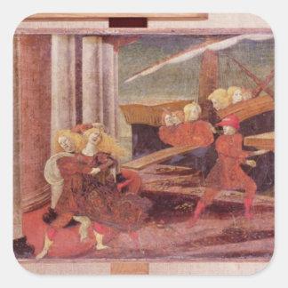 La abducción de Helen, c.1470 Pegatina Cuadrada
