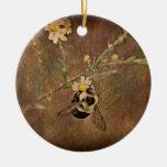 La abeja adorno redondo de cerámica