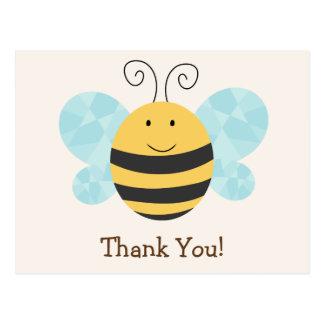 La abeja amarilla y negra linda le agradece tarjetas postales