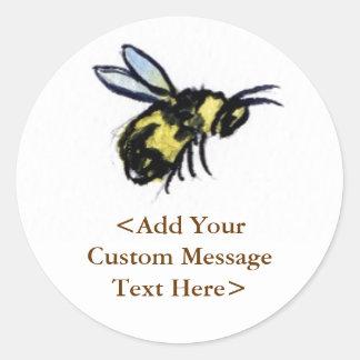 La abeja de la miel crea etiquetas autoadhesivas d pegatina redonda
