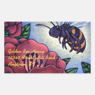 La abeja de la miel del pegatina visita el