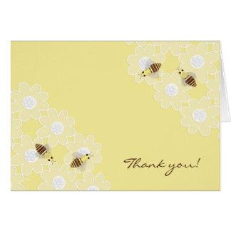 La abeja de la miel le agradece amarillo tarjetas