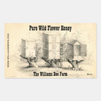 La abeja del vintage encorcha a los pegatinas del pegatina rectangular