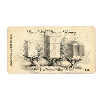 La abeja del vintage encorcha la etiqueta del etiqueta de envío