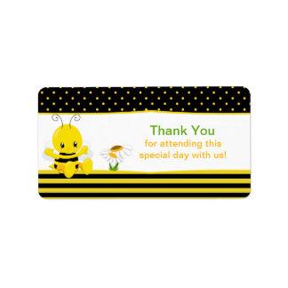 La abeja dulce del bebé le agradece las etiquetas etiquetas de dirección