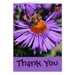 La abeja en la flor púrpura del aster le agradece  felicitaciones