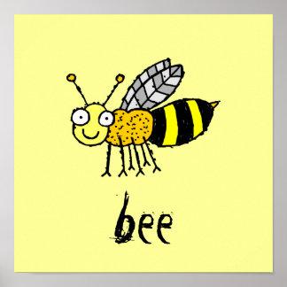 La abeja enrrollada de la miel de la granja embrom póster
