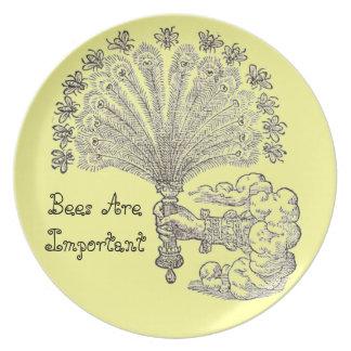 La abeja es placa importante platos