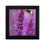 ¡La abeja está volando en una flor púrpura! Caja De Recuerdo
