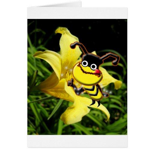 La abeja grande tiene gusto de la tarjeta del pole