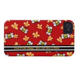 La abeja iPhone4 feliz Barely There - personalice iPhone 4 Protectores