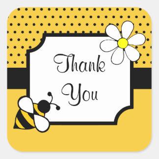 La abeja le agradece los pegatinas pegatina cuadradas