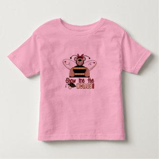 La abeja me muestra las camisetas y los regalos de