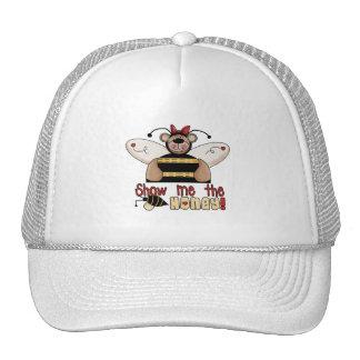 La abeja me muestra las camisetas y los regalos de gorras