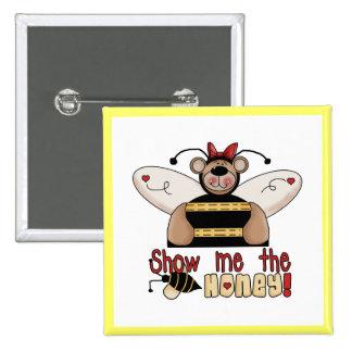La abeja me muestra las camisetas y los regalos de pin