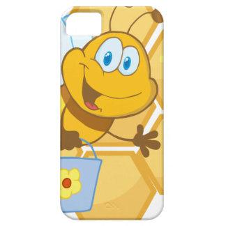 La abeja sonriente sostiene un cubo funda para iPhone 5 barely there