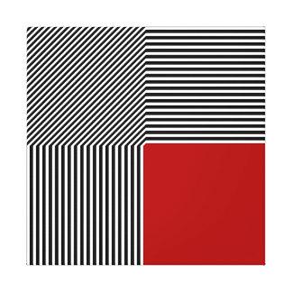 La abstracción geométrica, B/W raya el cuadrado Lona Envuelta Para Galerías