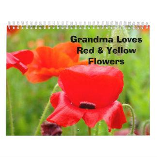 La abuela ama el calendario amarillo rojo de las f
