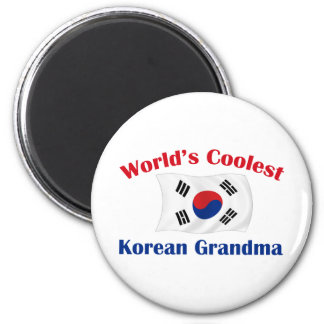La abuela coreana más fresca imán redondo 5 cm