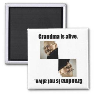 La abuela está viva imán cuadrado