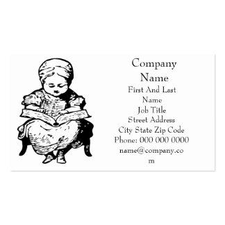 La abuela le leyó un diseño del dibujo animado de  tarjeta de negocio