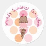 La abuela más dulce del mundo del helado pegatina redonda