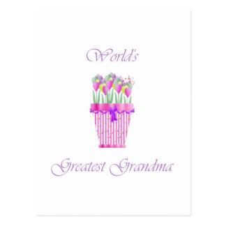la abuela más grande del mundo (flores rosadas) postales