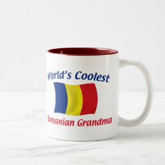 La abuela rumana más fresca taza de café de dos colores