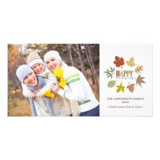 La acción de gracias colorida deja la tarjeta de tarjetas con fotos personalizadas