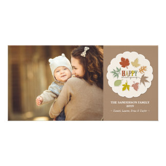 La acción de gracias colorida deja la tarjeta de tarjetas fotográficas