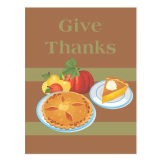 La acción de gracias da banquete de las gracias postales