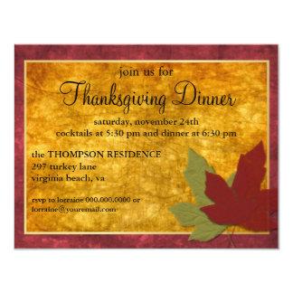 La acción de gracias de la elegancia del otoño invitacion personalizada