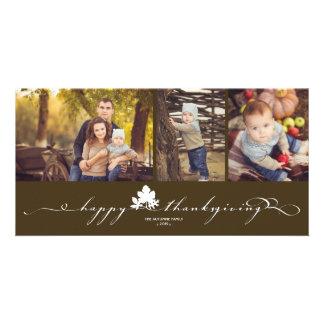 La acción de gracias deja la tarjeta simple de la tarjetas fotográficas