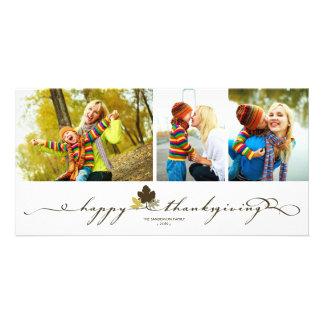 La acción de gracias deja la tarjeta simple de la tarjetas fotograficas personalizadas