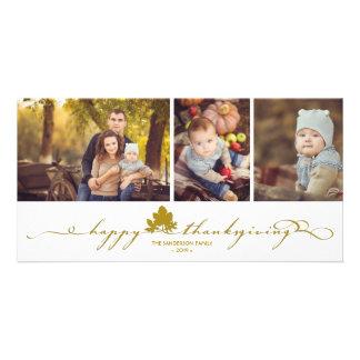 La acción de gracias deja la tarjeta simple de la tarjetas personales