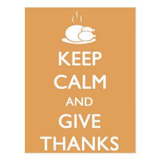 La acción de gracias guarda calma y da las gracias postal