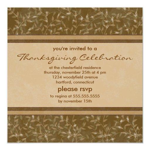 """La acción de gracias personalizada deja invitación 5.25"""" x 5.25"""""""