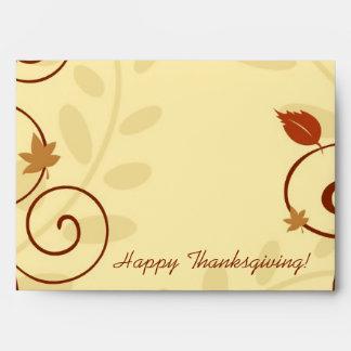 La acción de gracias se va y remolina los sobres
